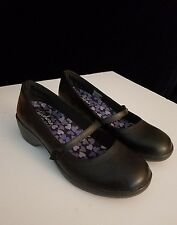 Skechers Flexibles Staple Memory Foam Sz 8 Black Leather Mary Jane Wedge Heels