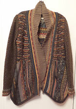 IVKO Jacquard Asymmetrical Cardigan Sweater Jacket Embroidered Elbows SZ 40 - L