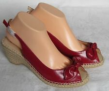 NEW Lotus Ladies Red Patent Leather Peep Toe Wedge Shoes Sandals Size 7