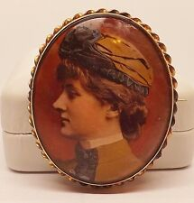 VICTORIAN 1907 ROSE GOLD PAINTED LADY PORTRAIT BARLEY TWIST CAMEO PIN BROOCH