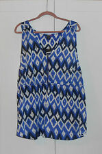 LYS (LOVE YOUR STYLE) BLUE GEOMETRIC PRINT 1/2 ZIP-UP RACER BACK TUNIC/3XL PLUS