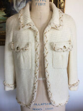 5K MOST FABULOUS CHANEL 07A RUNWAY BOUCLE TWEED IVORY WHITE CHAIN JACKET 44