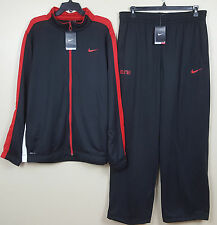 NIKE DRI FIT WARM UP SUIT JACKET + ELITE PANTS THERMA FIT BLACK RED NWT SIZE 2XL