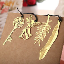 4× Metal Gold Plated Hollow Animal Feather Key Angel Bookmarks Book Magazine