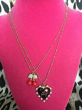 Betsey Johnson Vintage Cherry Black Lucite Heart Lips Kisses XOX Necklace RARE