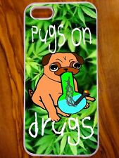 New IPhone 5/5s Case, Pugs On Drug, Cartoon Design, Weed, Cannabis, Dog,