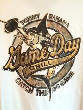 NEW TOMMY BAHAMA WHITE 100% COTTON SHIRT FOOTBALL Game Day Grill MENS T SHIRT XL