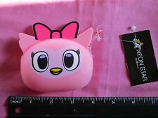 Neon Star by tokidoki Pink OWL Silicone Coin Purse * NTW Zipper Top Pink Bow