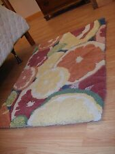 """RUG 100% Virgin Wool Hand Made Rug """"Fruits in a Bowl"""" Food Cooking Decor"""