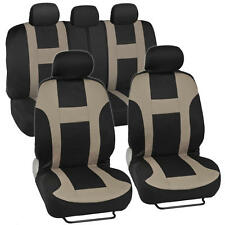 New BDK Monaco Racing Style Seat Covers Front and Rear Complete Set - Tan Beige
