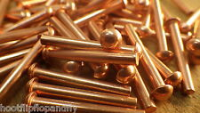 "50 RIVETS 1/8"" x 1""  25mm SOLID COPPER ROUND HEAD RIVET MODEL ENGINEER RESTORE"