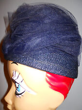 Vintage Glamorous 40s 50s Navy BeeHive Fishnet Turban Wrap Cloche Hat Millinary