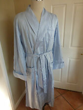 Derek Rose Blue Lingfield 100% Cotton Luxury Dressing Gown Bath Robe  XL 44 SALE
