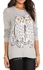 "$$$$ BCBG MARBLE COMBO ""ROONEY"" OVERSIZED OWL GRAPHIC L-SLEEVE SWEATER TOP NWT S"
