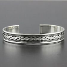 Womens 925 Sterling Silver Vintage Style Bali Bangle Cuff Bracelet 11mm Wide