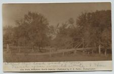 1910 Hillsboro North Dakota City Park Wood Walking Bridge real photo RPPC