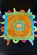 8/ DOUDOU comfoter PLAT LION - ALEX JR - orange bleu vert - EXCELLENT ETAT !