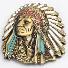 Classic Indian Chief Head Belt Buckle Mens Vintage Native American Free Shipping
