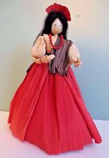 """Fabulous NEW 8"""" Hand Crafted Spanish Lady with Necklace CORN HUSK DOLL"""