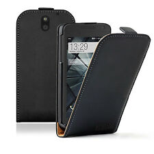 Ultra Slim BLACK Leather Flip Case Cover Pouch for Mobile Phone HTC Desire 610