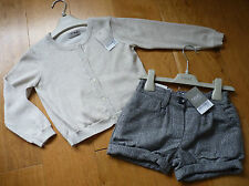 BNWT NEXT Stunning Outfit (Shorts & Pale Gold Cardigan) 3-4 years, Brand New!