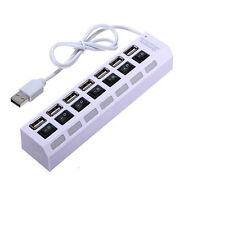 7-Port USB 2.0 Black Hub with High Speed Adapter ON/OFF Switch for Laptop