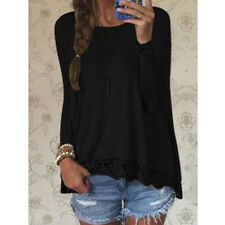 Women Lady Long Sleeve Shirt Casual Lace Blouse Loose Cotton Tops T Shirt S-XL