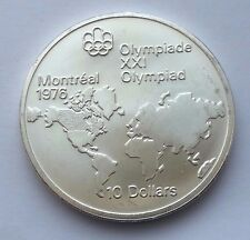 1973 CANADA SILVER $10 1976 MONTREAL OLYMPICS WORLD MAP COIN
