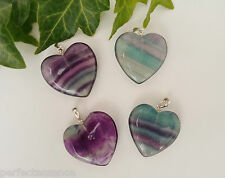 A Grade Rainbow Fluorite Crystal Heart-shaped Pendant - Stirling Silver Clasp!