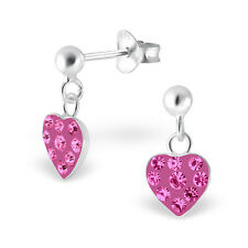 Childrens Kids Girls 925 Silver Hanging Heart Ear Studs with Crystal-Gift Boxed