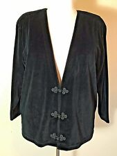 Elisabeth Liz Claiborne Plus Size 1P Black Velour Velvet Jacket Asian Flair