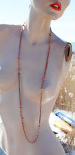 VINTAGE COPPER PLATED LONG CHAIN BEAD NECKLACE 42 inches