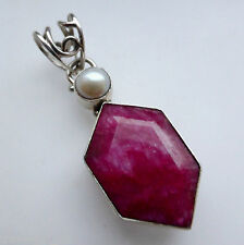 Ruby Pearl 925 Sterling Silver Pendant Jewellery Womens Birthday Gifts