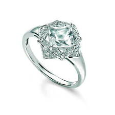 Finest Designer 9ct White Gold Topaz & Diamond Cluster Ring GeGR434C