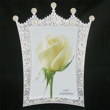 Fashion Crystal Pearl Crown Home Decor Photo Frame Alloy Metal 5'' *7'' X1357