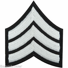 US Army Sergeant Stripes E-5 Military White Sew Embroidered Iron-On Patch #P018
