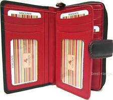 Ladies Purse Wallet Soft Leather Visconti New in Gift Box Black/Blue, Black/Red