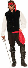 Men's Black Pirate Captains Vest Steampunk Costume Accessory Size Standard
