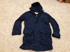 Mens Burberry Brit Military Packable Hooded Blouson Coat Jacket Navy Blue Small