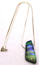 "DICHROIC GLASS 16"" Necklace Shimmer Shard Pendant Blue & Green Silver Tone"