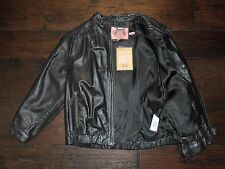 Juicy Couture BLACK  Bracelet Sleeves Punched Leather Zipper Jacket SZ S NEW