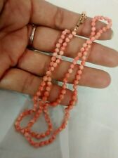 Pretty vintage delicate salmon angel skin coral  small beads 14k clasp necklace