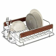 mDesign Kitchen Dish Drainer Rack for Drying Glasses, Silverware, Bowls, Plates