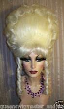 Drag Queen Wig Teased Tall White Blonde Up Do French Twist Two Tendril Bangs