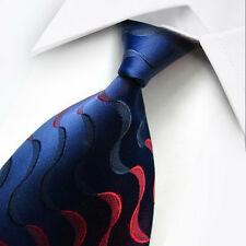 UK0021 Blue Red Striped New Silk Classic JACQUARD Woven Men's Tie Necktie