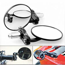 "1 Pair Motorcycle Round 7/8"" Handle Bar End Foldable Rear View Side Mirrors NR"