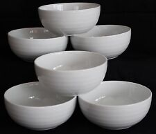 "Set of 6 Crate &  Barrel Cereal Bowls - White ""Roulette"" Spal Ribbed"