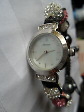 SEKONDA CRYSTALLA WATCH JEWELLED BEADED BANGLE BRACELET MOTHER PEARL WRISTWATCH