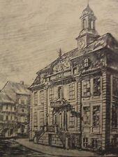 M.-(?) JENSEN - antik-Radierung:  ALTES RATHAUS ALTONA /Hamburg