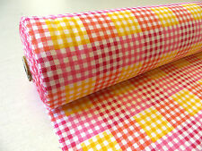 by METRE Pink/Yellow bright Gingham Check 100% Brushed Cotton Wincyette Fabric